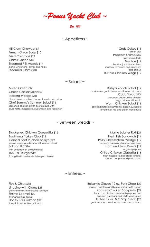 Ponus Yacht Club menu